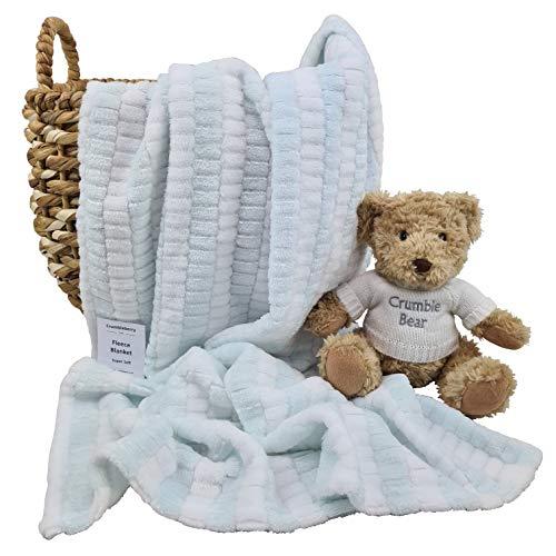 Crumbleberry - Manta de forro polar a rayas para bebé o niña, ideal como regalo para baby shower, cochecito, moisés, jacquard a rayas azul menta