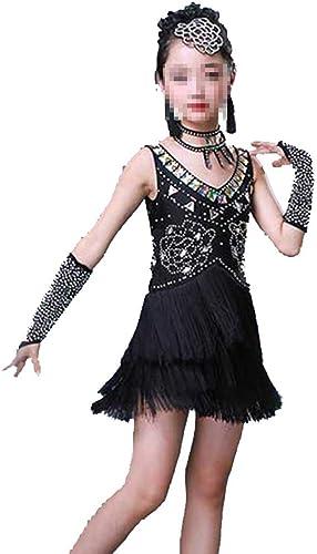 Asdflina Filles Danse Latine Robe Enfants Enfants Paillettes Frange scène Perforhommece compétition Costume de Danse Vêtements de Danse pour Occasions spéciales (Couleur   Noir, Taille   110cm)