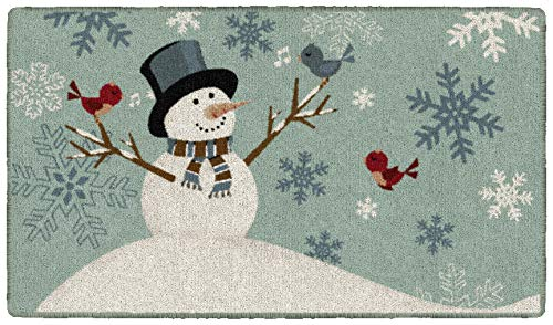 Brumlow MILLS Snowman Songs Holiday Decorative Christmas Celebration Area Rug for Front Door, Entryway, Kitchen or Room, 1'8'' x 2'10''', Teal