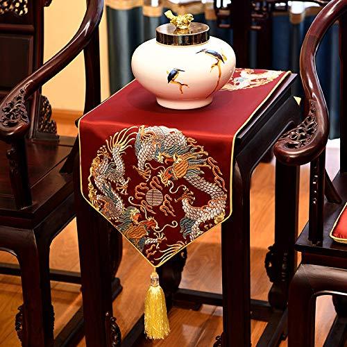 Geborduurde satijnen tafelloper met kwast, Chinese diep rode draak patroon kunst decoratieve lang, dik tafelkleed tafelloper voor thuisdecoratie kantoor vergaderruimte hotel 35×100 cm (13.8×39.4 inch)
