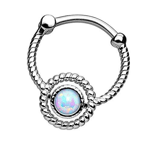 Piersando Piercing Scharnier Clicker Ring Schild Tribal mit Doppel Opal Stein Vintage Septum für Tragus Helix Ohr Nase Lippe Brust Intim Silber