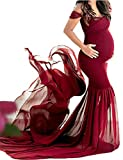 OJQ Maternity Off Shoulder Chiffon Gown for Photoshoot Maxi Photography Dress for Photo Props Dress Burgundy