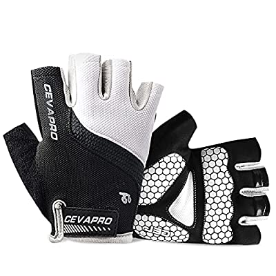 Cevapro Cycle Gloves Mountain Road Bike Gloves Half Finger Bicycle Gloves with Anti Slip Shock-Absorbing Gel Pad Cycling Riding Biking Gloves MTB DH Road Bicycling Gloves for Men Women (White, L)