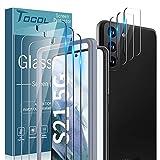 TOCOL 6 Piezas Protector de Pantalla para Samsung Galaxy S21 5G 3 Piezas Cristal Templado y 3 Piezas Protector de Lente de cámara HD Vidrio Templado Marco de posicionamiento 9H Dureza