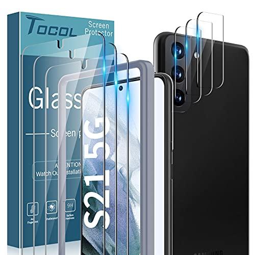 TOCOL 4 Piezas Protector de Pantalla para Samsung Galaxy S21 5G 2 Piezas Cristal Templado y 2 Piezas Protector de Lente de cámara HD Vidrio Templado Marco de posicionamiento 9H Dureza