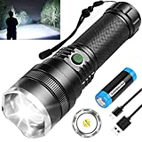 BERCOL LED Rechargeable Flashlights, 10000 High Lumens Bright Tactical Flashlight with 4 Modes, Zoomable, Waterproof Handheld Flashlights for Hiking/Camping/Hunting/Emergencies