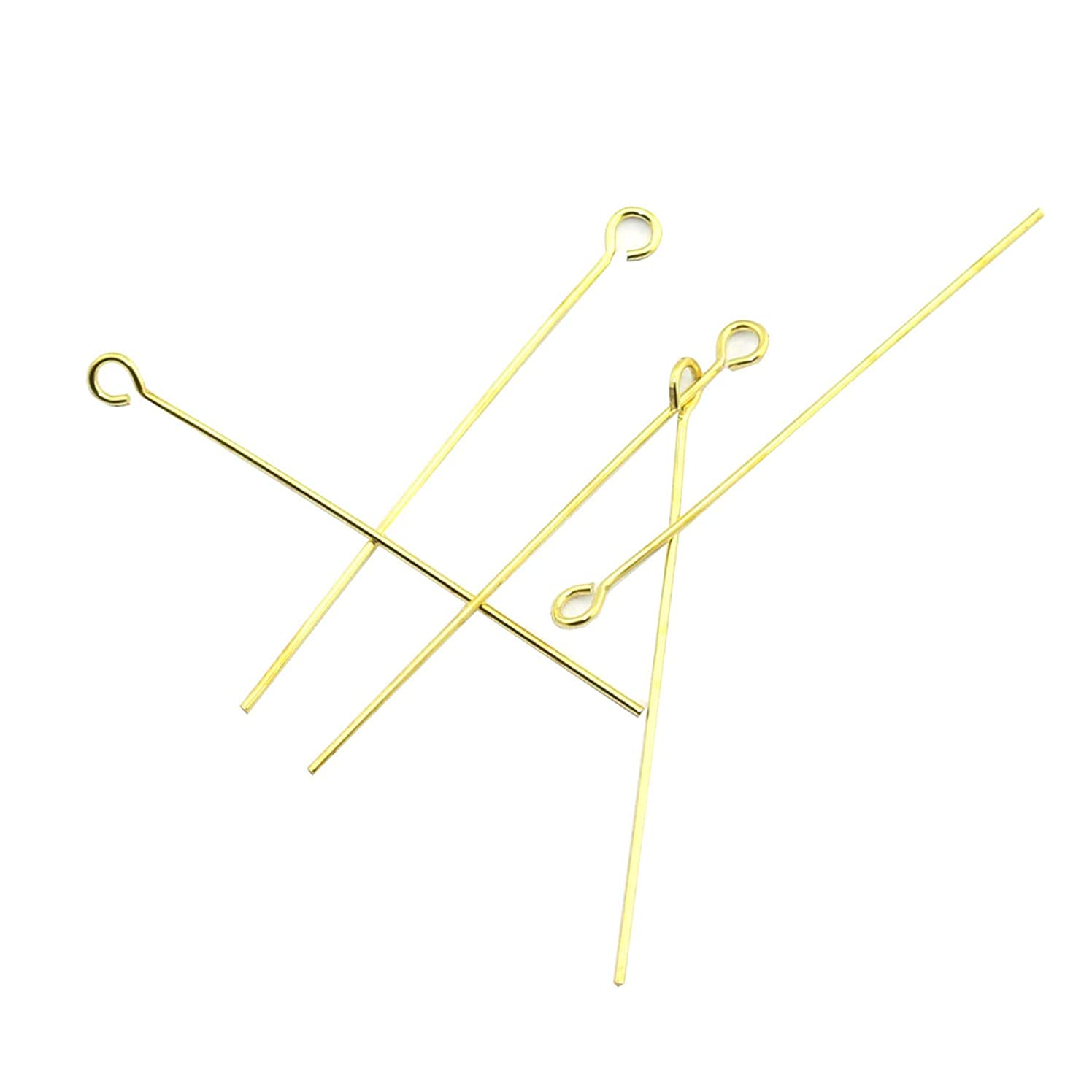 NX Garden 100pcs Gold Eyepins for Jewelry Making Electroplate Copper Metal Jewelry DIY Fittings Head Pins 40mm