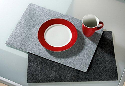 Felt Set De Table En Plastique rectangulaire, 4 Set anthracite, lavable
