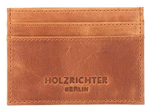 HOLZRICHTER Berlin Visitenkartenetui Leder. Handgefertigtes Etui in braun. Hochwertiges Portemonnaie für Visitenkarten und Kreditkarten