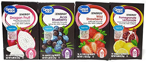 Great Value Energy Drink Mix Variety Bundle, 0.88-1.13 oz box with 10...