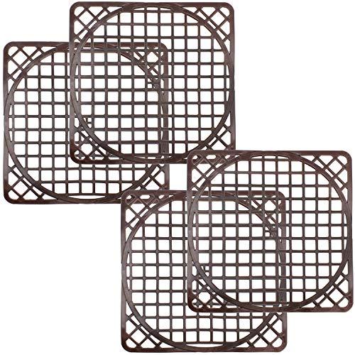 com-four® 4 Spülbeckenmatten universal, Spülmatte schützt die Oberfläche der Spüle und das Geschirr, zuschneidbar in rund (4 Stück - braun)