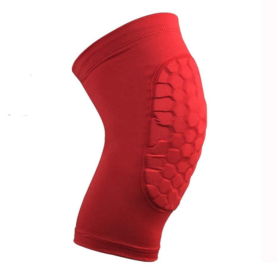 リーガン待つスクリューアウトドアライディングプロテクションギア通気性ハニカム衝突防止膝バスケットボールレギンスセット1ダブル (色 : 赤, サイズ さいず : XL)