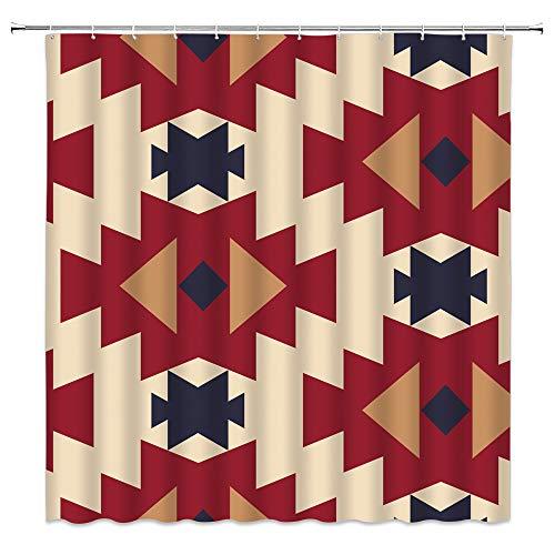 WZFashion Southwestern Duschvorhang Southwest Navajo abstrakt Azteken Indianer Ethno Tribal Vintage geometrisches Retro indisches Ethno Muster Stoff Badezimmer Vorhang-Set 177 x 178 cm mit Haken