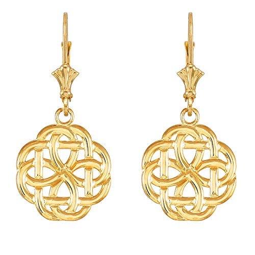 14k Yellow Gold Triquetra Celtic Trinity Dangle Earrings