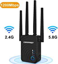 WiFi Extender | 1200Mbps WiFi Repeater Super Boost WiFi | 2.4&5GHz Dual Band Internet Booster, 4 WiFi Antenna 360° Full Coverage Network | Compatible with Alexa Device, Extends Wireless to Smart Home
