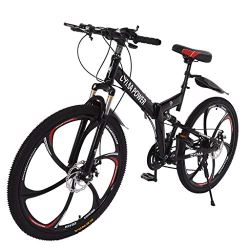 26 Inch Mountain Bike, high Carbon Steel Bicycle with 21 Speed Bicycle Disc Brakes-Mechanical Shimanos Cycling Full Suspension MTB Bikes (US 3-5 Day,Black)
