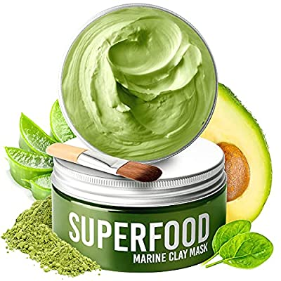 Clay Mask by Plantifique - 100% Vegan Face Mask with Avocado & Green Tea - Dead Sea Mud Mask - Face Masks Beauty - Acne Treatment - Natural Dermatologically Tested - Face Masks Skincare - Skin Care by Plantifique