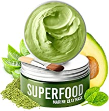 100% Vegan Clay Mask with Avocado & Superfoods - Dermatologist Tested, Hydrating Dead Sea Mud Mask - Organic Face Mask - Face Masks Skincare - 100ml/3.4 Oz Face Mask for Acne