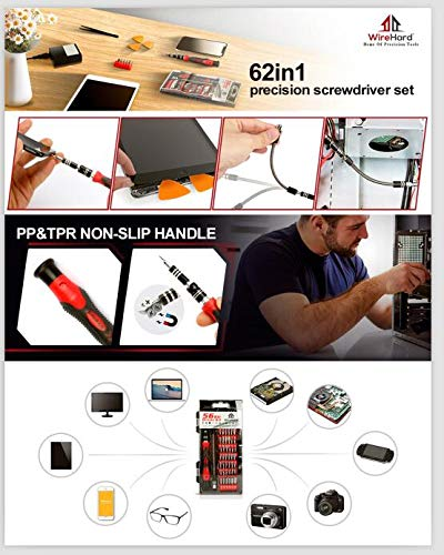 WIREHARD 62 in 1 Precision Computer and Smart Phone Repair Tool Kit, Extra Magnetic Steel Multi Specialty Bit FOR All iPhone Versions, MacBook, Tablet, Xbox, PlayStation Controller, Drone, Glasses
