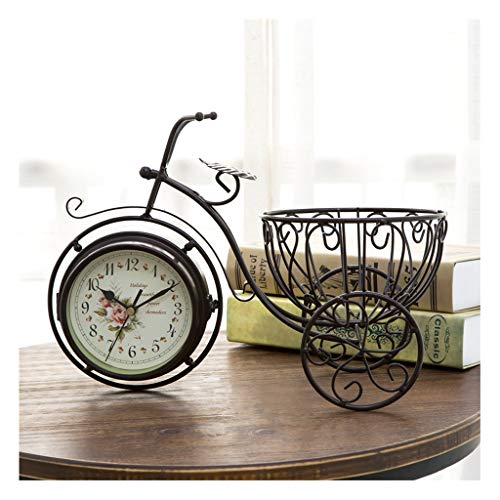 kerryshop Reloj Despertador Pequeño Reloj de Mesa Decorativa Hogar Iron Art Three-Bicycle Table Table Reloj de Jardín Sala de Estar Doble Cara Silent Table Reloj Adornos Regalo Reloj de Escritorio