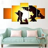Gaetooely Cuadro impreso en lienzo de pared de 5 piezas/Set de soldados moderno decoración del hogar HD para sala de estar modular cuadro
