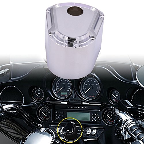 KATUR CNC Ignition Switch Cover Motorcycle CNC Accessory Edge Cut Billet Aluminum Compatible for Harley Touring Street Road Glide 2007-2013(Silver)
