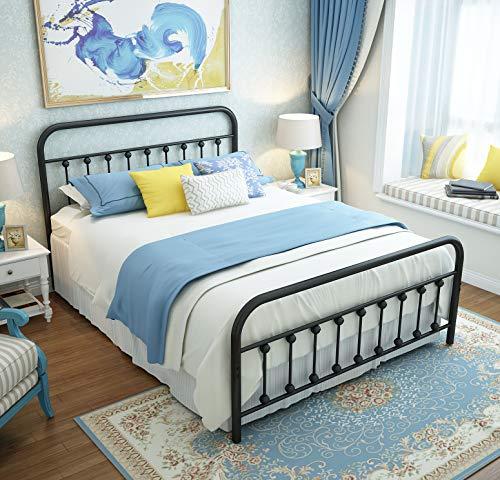 Marco de cama de metal con plataforma Queen con cabecero y piecero, estilo victoriano vintage, no requiere somier, almacenamiento...