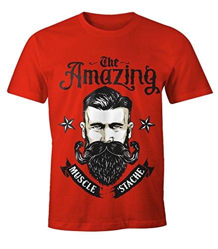 MoonWorks Herren T-Shirt - Beard The Amazing Muscle Mustache Bart Barber Shop Barbier Hipster Bartträger rot XL