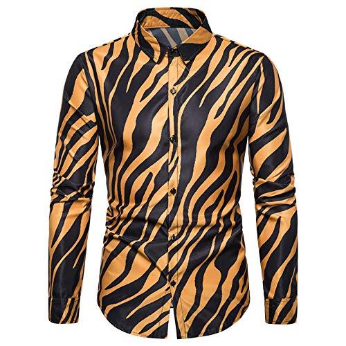Camisa con Botones de Solapa para Hombre, Personalidad, Estampado de Rayas Grandes, Camisa Informal Ligera de...