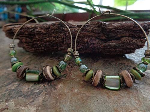 GRÜNE BRONZE KERAMIK GLAS REGENBOGEN HOLZ KOKOS PERLMUTT CREOLEN einmalige Materialmix OHRRINGE in grün braun bronze aus Naturmaterialien