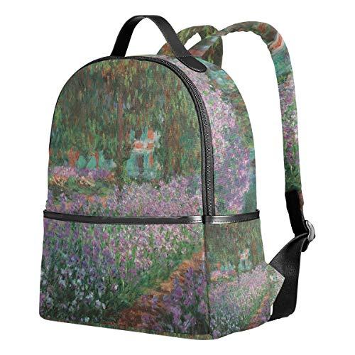 Ahomy Mochila para Niñas, Monet Jardín Mochila Escolar Libro Bolsas Casual Daypacks para Viajes y Deportes