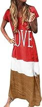 WOCACHI Womens Gradient Color Block Maxi Dress, Patchwork Fall Loose Dress