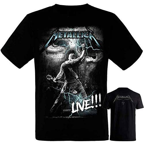 Metallica-James Hetfield - Camiseta Negra Hombre Manga Corta - Metallica Tshirt (XXL)