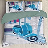 Country Decor California King Size Sheet Set, Washed Microfiber 3 Piece Bedding Sets Mini Scooter in a Soft Mediterranean Mid Day Light Italian Town Life Symbol Art Paint Lightweight Blue Pink