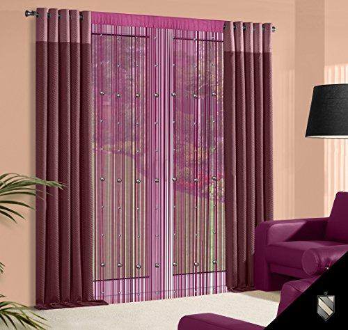 DecoKing 140x245 cm violett Pflaume lila Spaghetti Vorhang Perlenvorhang Koralle Kräuselband Fensterdekoration Gardine Violet Purple Lilac