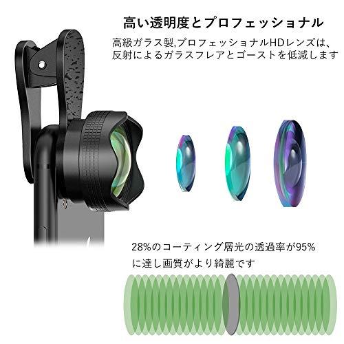 スマホ用カメラレンズクリップ式レンズ広角レンズマクロレンズ自撮りレンズカメラレンズキット-Luxsure2020簡単装着2in1花弁の形