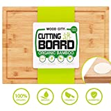 Wooden Cutting Board, WOOD CITY Extra Large 18x12' Bamboo Chopping Board for Kitchen, Butcher Block for Meat Cheese and Vegetables, Organic Serving Tray with Juice Groove and Anti-slip Pads