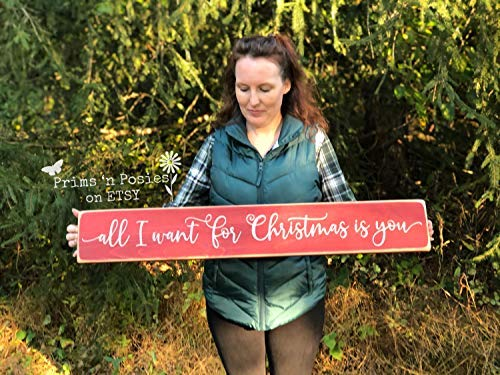 Ced454sy Holzschild, Aufschrift All I Want for Christmas is You, groß