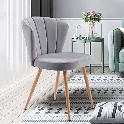 Uni-Fam 1 PC Esszimmerstühle Set Samt Küchenstuhl Wohnzimmerstuhl mit Shell-Stil Rückenlehne Vintage Sessel Polsterstuhl Komfort Sitzgefühl
