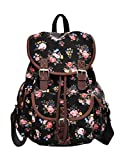 Douguyan Schulrucksack Daypack Girls E00163 Schwarz Pflingstrose Muster