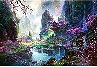 谷の桃の花の風景-脳の挑戦のための大人の子供のための1000ピースのジグソーパズル大規模な教育知的ゲーム家の装飾-50cmx75cm