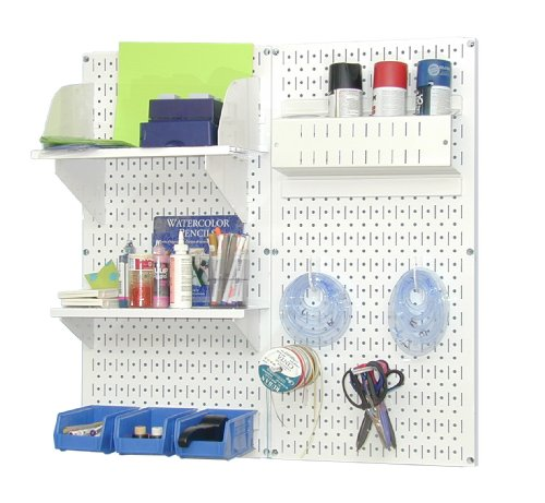 Wall Control Pegboard Hobby Craft Pegboard Organizer Storage Kit with White Pegboard and White Accessories