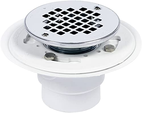 Oatey 42219 Drain with Chromed Assembly and Stainless Steel Strainer, 2-Inch or 3-Inch, White/Brass