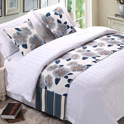 YYSWIM Literie Hôtel étoilé de Style Luxueux Style Chinois avec Drapeaux de lit en Feuille de Ginkgo doré Serviettes de lit pour Villas avec Petit-déjeuner Couvre-Lits Fleur de Lotus Bleu foncé Kaki