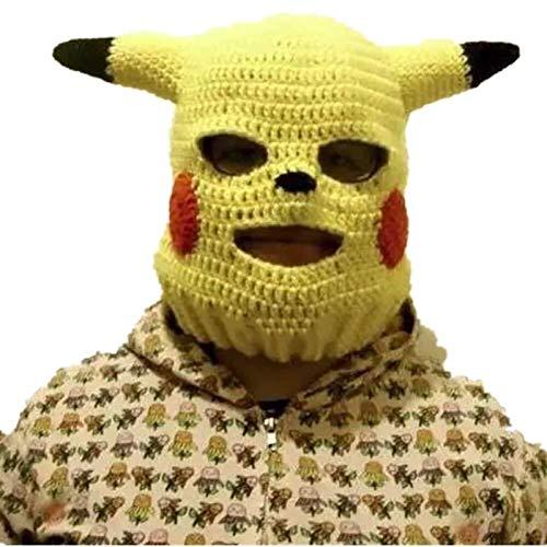 LQXZJ- Pikachu Unisex-Hut, handgemachte Funny Animal Hut, Alien-förmige Wolle Kopfschmuck Partei-Schablone, Mütze, Halloween Geburtstags-Geschenk (Size : Adult Models)