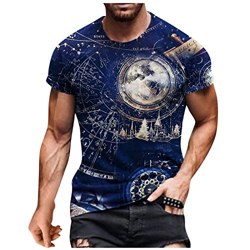 Binggong Camiseta vintage para hombre con impresión 3D Tie-Dye Mode T Shirt para hombre, camiseta de manga corta, camiseta deportiva para el gimnasio y el entrenamiento informal