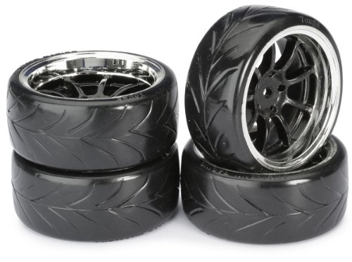 Absima - Wheel Set Drift LP  9 Spoke/Profile A Black/Chrome 1:10 (4 pcs) (2510044)
