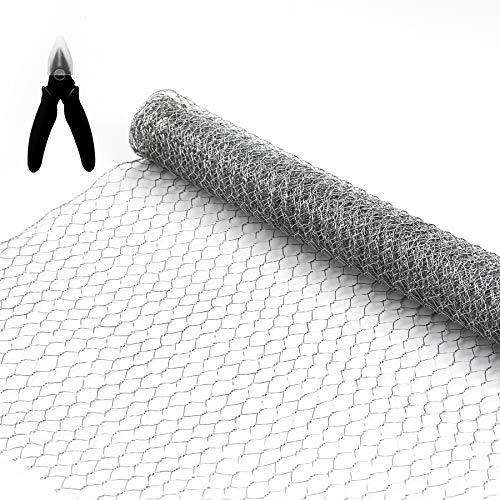 BSTWM Chicken Wire Net 16.9 Inches x 6.6 Feet x 0.43 Inch Mesh for Craftwork,Small Hole Galvanized Hexagonal Wire Netting for Crafting Projects,Home Use and Gardening,with One Mini Wire Cutter