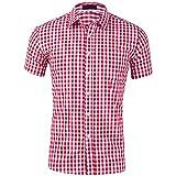 Camisa Hombre A Cuadros Básico Slim Fit Camisa Casual De Hombre De Verano Trabajo De Negocios Anfitrión De Boda Clásico De Todos Los Partidos De Manga Corta para Hombre A-Red M