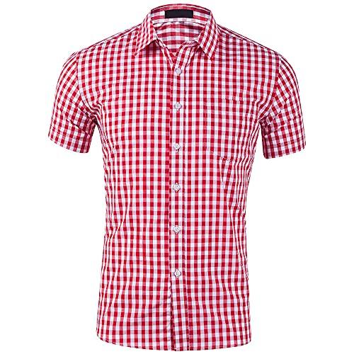 Camisa Hombre A Cuadros Básico Slim Fit Camisa Casual De Hombre De Verano Trabajo De Negocios Anfitrión De...
